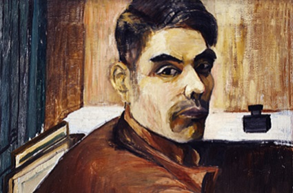 painting of man with dark hair, from the shoulders up, looking sideways at viewer, colors are earth tones - browns, black and dark blue